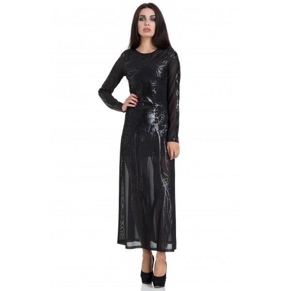 Black Hearted Veins Maxi Dress